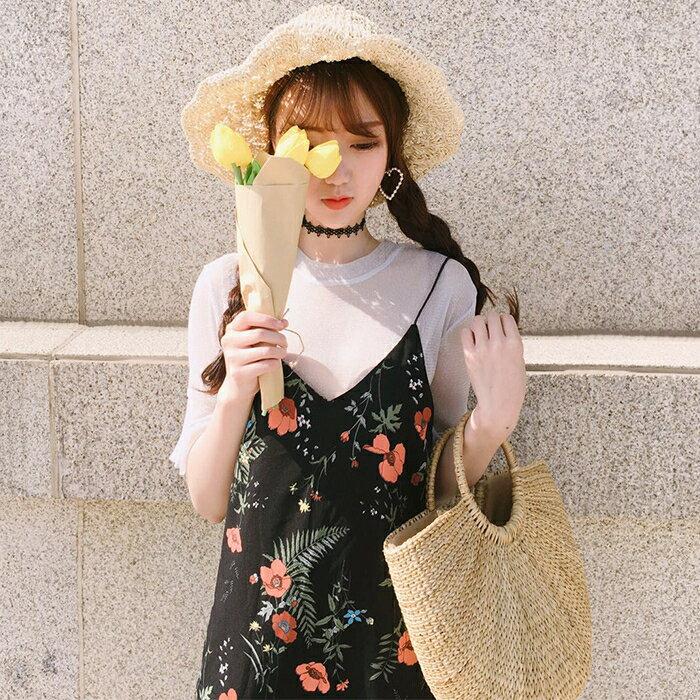 [超豐國際]夏季圓領純色短袖T恤女中長款雪紡碎花學生喇叭袖連1入