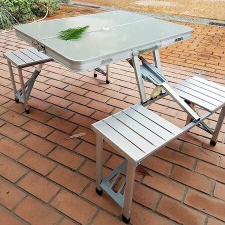 美麗大街【CP106010402】方便攜帶 手提加厚鋁合金摺疊露營桌椅組合