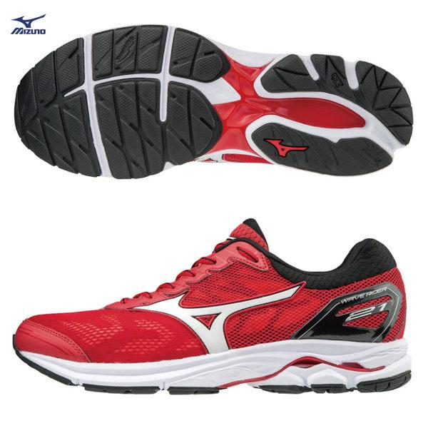 美津濃MIZUNO男跑鞋WAVERIDER21(紅)一般楦雲波浪款路跑鞋J1GC180301【胖媛的店】