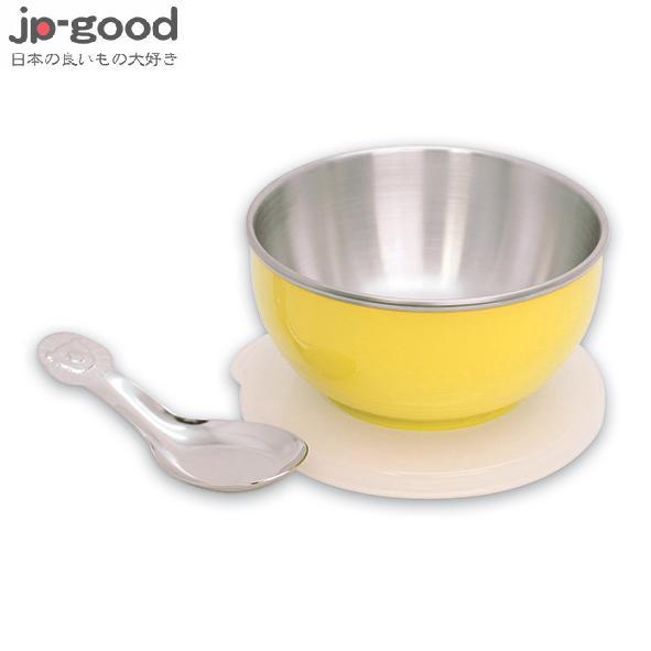 genkibebi元氣寶寶彩色不鏽鋼隔熱寶寶碗(附蓋+湯匙)-黃色