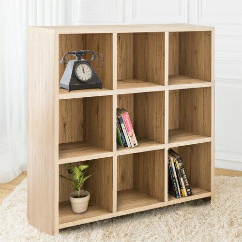 【尚優家居】DIY維亞九格櫃展示櫃書櫃收納櫃隔間櫃(淺橡色)