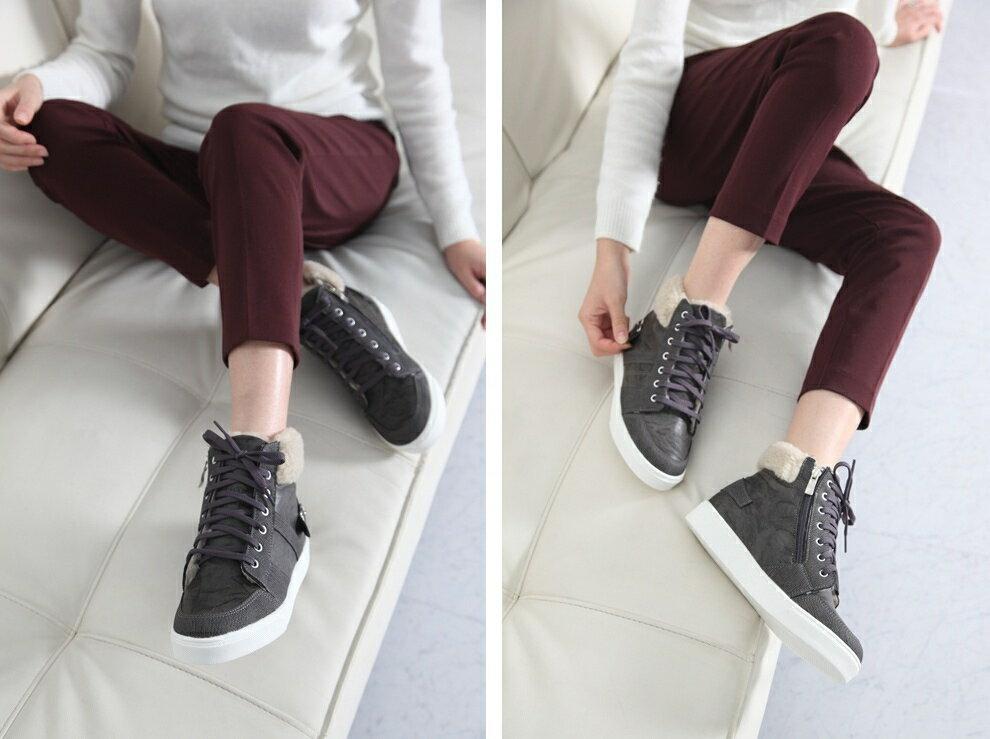 正韓直送 拼接布面 內刷短絨毛 厚軟底休閒中統靴 (灰色)