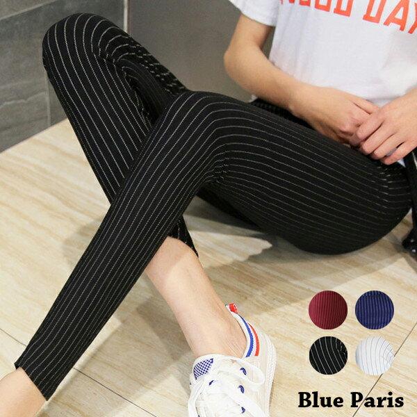 窄管褲 - 直條造型彈性緊身窄管褲【23299】藍色巴黎《4色》現貨+預購 0
