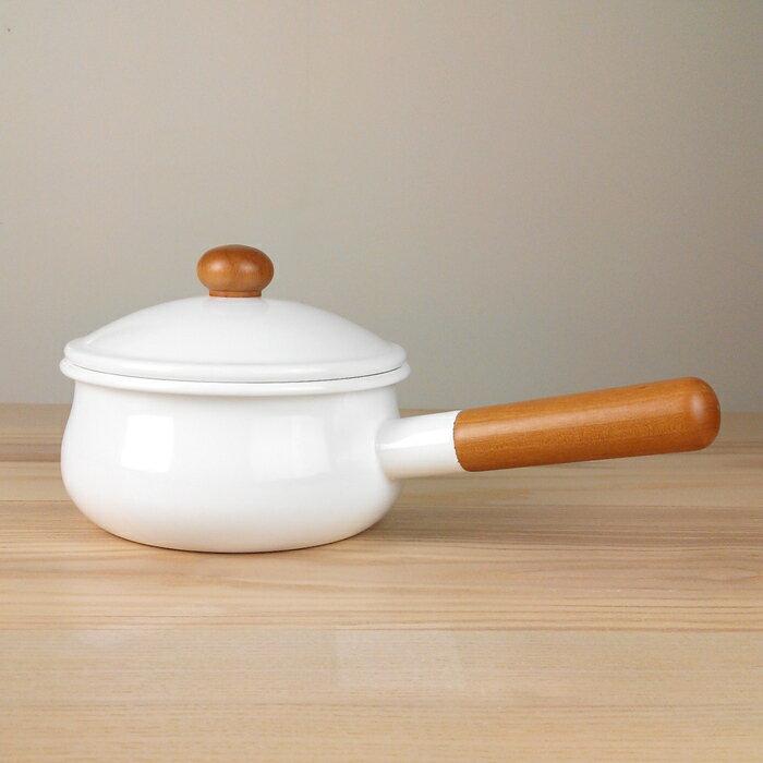 【野田琺瑯】POCHKA系列琺瑯單柄牛奶鍋/琺瑯鍋15cm-白色
