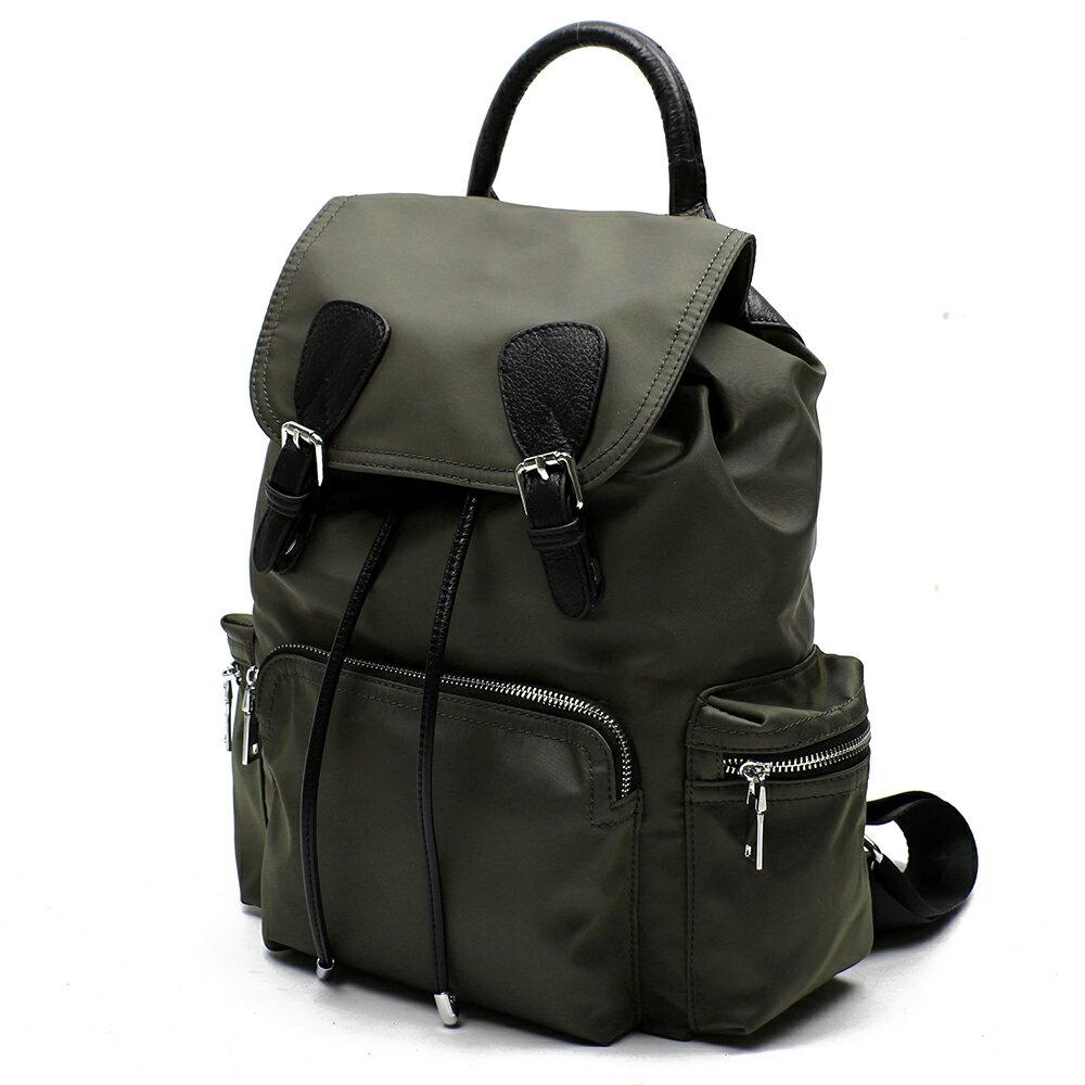 【BEIBAOBAO】倫敦學院防水布配真皮後背包(共兩色:橄欖綠) 2