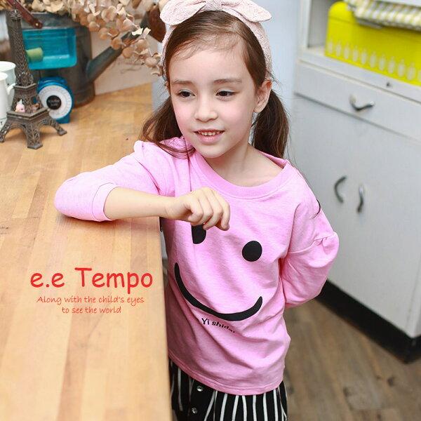 Pink Nana:eetempo童裝女童可愛笑臉純棉薄款上衣A11149現貨