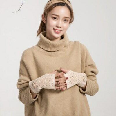 針織手套羊毛手套-勾花鏤空純色半指女手套4色73or3【米蘭精品】