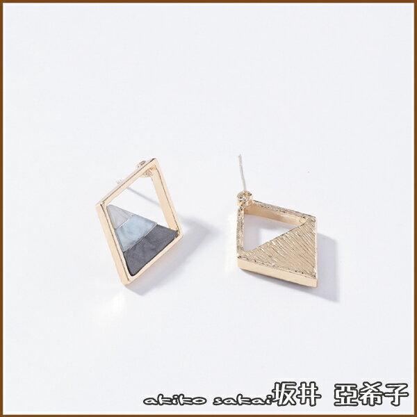 『坂井.亞希子』925銀針漸變色彩三角菱形造型耳環
