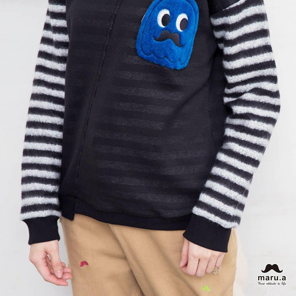 【maru.a】亮眼條紋小幽靈貼布袖T-shirt(2色)7911239 3