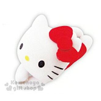 〔小禮堂〕Hello Kitty 可扣式多功能絨毛娃娃《紅.趴姿》可當捲線器
