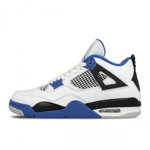 NIKE Jordan 4 Motorsport 男鞋 大童 籃球鞋 四代 限量 騎士 白黑 藍 【運動世界】 408452-117