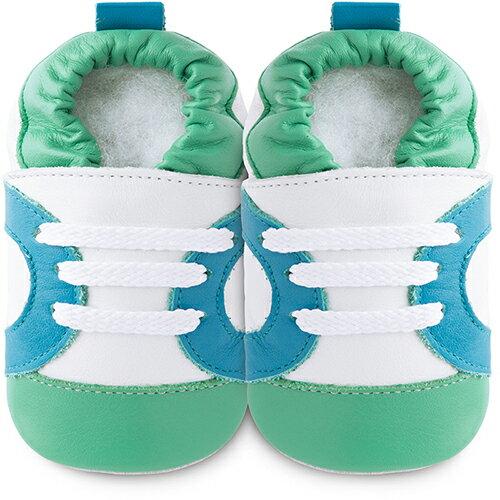 【hella 媽咪寶貝】英國 shooshoos 安全無毒真皮手工鞋/學步鞋/嬰兒鞋 白底/藍綠運動型 102065 (公司貨)