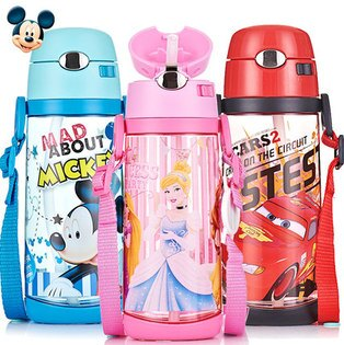 正版Disney迪士尼兒童吸管水杯學飲訓練杯寶寶小學生防漏背帶水壺-4239