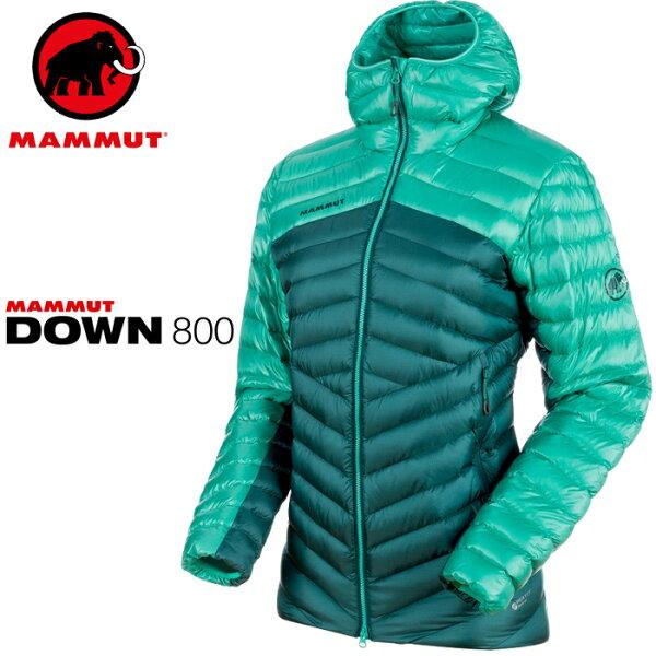 Mammut長毛象登山羽絨衣連帽羽毛外套BroadPeakINHoody女款1013-0035040027水綠珊瑚綠