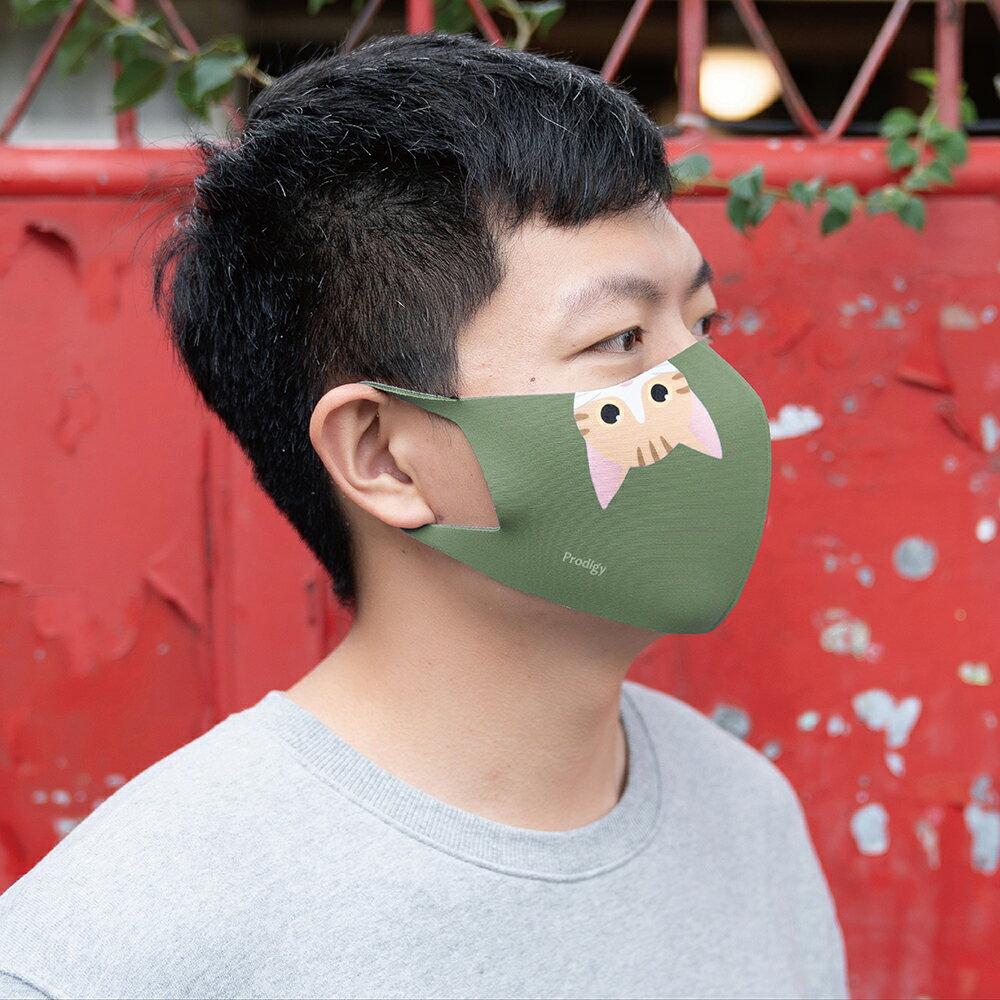 【Prodigy波特鉅】抹茶綠Miaow─抗UV3D立體透氣口罩1入