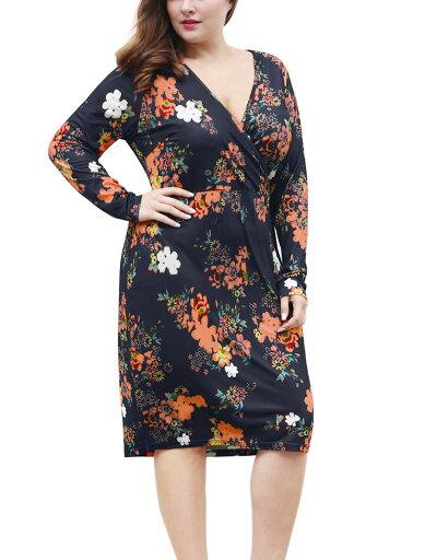Women Plus Size Floral Print Wrap Front Midi Sheath Dress Blue /2X a90366bcf0824d6335fbcf7db578cbbe