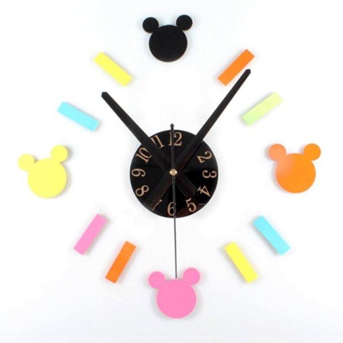 壁貼創意時鐘 迪士尼米奇風格 DIY立體靜音掛鐘 高級鏡面壓克力材質 經典米老鼠造型 個性趣味特色時鐘