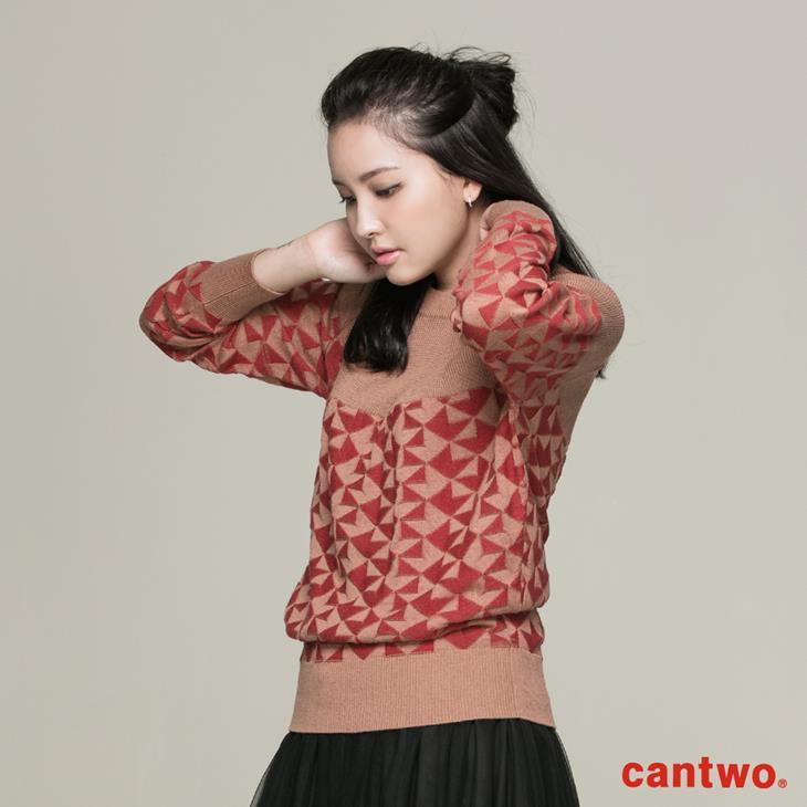 cantwo復古幾何圖紋針織上衣(共二色) 1