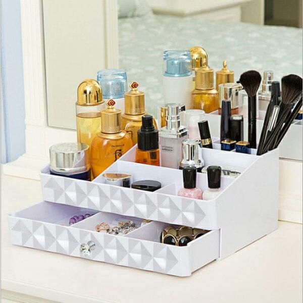 高雅菱格紋抽屜式化妝品收納盒|收納架|首飾盒|珠寶盒|免運