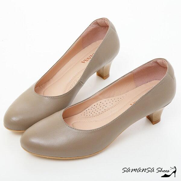 samansa莎曼莎手工鞋:現貨【MIT全真皮】職場2.0---綿羊皮素面靜音工作不分心上班鞋【SAMANSA】-#15102氣質灰