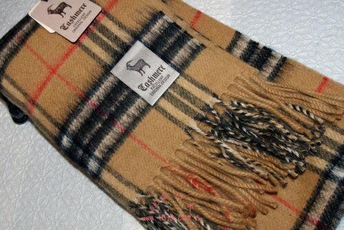 純正日本製高質感CASHMERE格紋圍巾