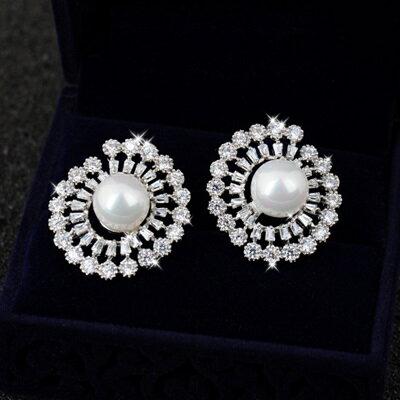 925純銀耳環鑲鑽耳飾~奢華高檔鏤空圓形情人節生日 女飾品73du18~ ~~米蘭 ~