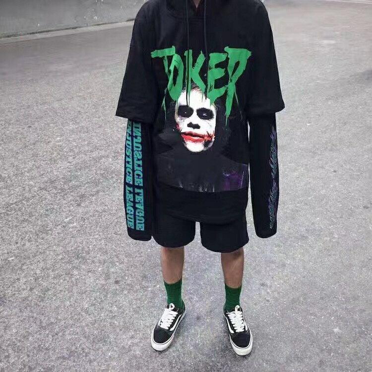 爆款 Joker 小丑 假兩件 超長袖 寬鬆 連帽T恤 帽T 韓國 潮男 1