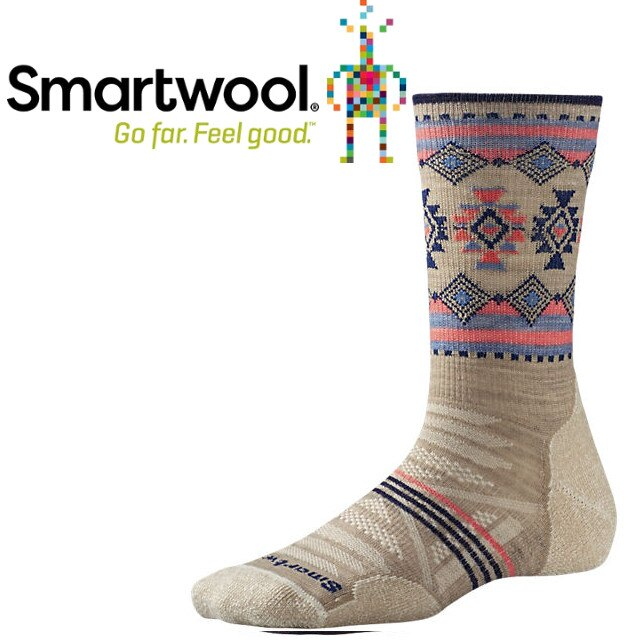 Smartwool 羊毛襪/雪襪/排汗襪/保暖襪/美麗諾羊毛/女款PhD戶外輕量減震印花中長襪 SW001312 241燕麥棕