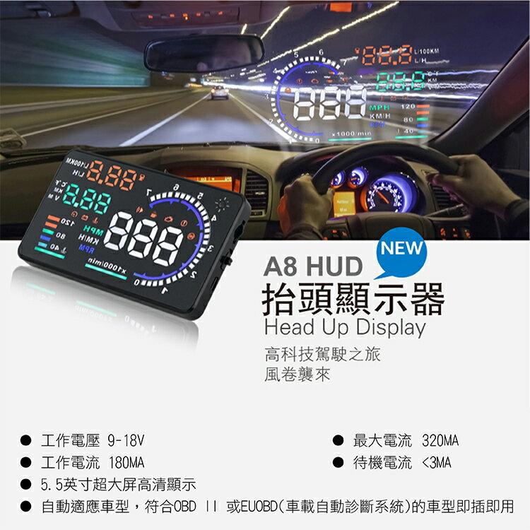 攝彩@A8 HUD抬頭顯示器 多功能Smart投射型智慧車標準配備 符合OBD II 與EUOBD 行駛速度 超速報警