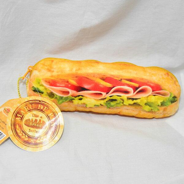 日本好像麵包系列筆袋文具袋化妝包日本帶回正版商品火腿蕃茄潛艇堡