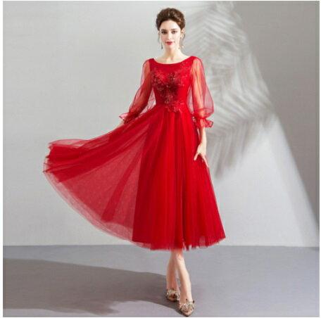 天使嫁衣【AE2960】紅色圓領紗袖收口璀璨珠片中長款禮服˙預購訂製款
