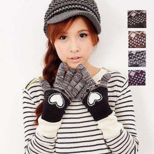 【MIT台灣製】雙層內裡羽毛紗針織手套保暖手套─提花愛心款(多色可選)