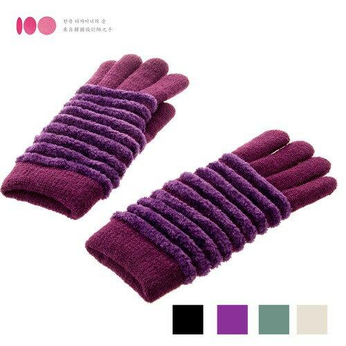 【MIT台灣製】雙層內裡羽毛紗針織保暖手套─緹花款(多色可選)