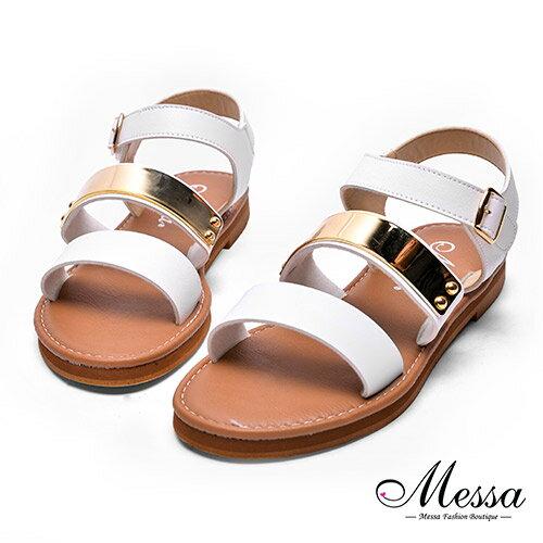 【Messa米莎專櫃女鞋】MIT-羅馬簡約一字金屬造型涼鞋-白色
