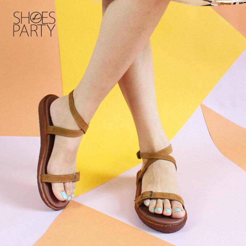 【S2-18706L】Simple+可調寬度,繞帶Q彈漢堡底涼鞋_Shoes Party 2