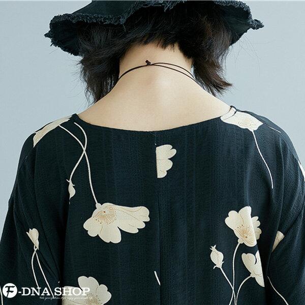 加大尺碼★F-DNA★滿版花兒雪紡短袖上衣(黑-大碼F)【EG22055】 5