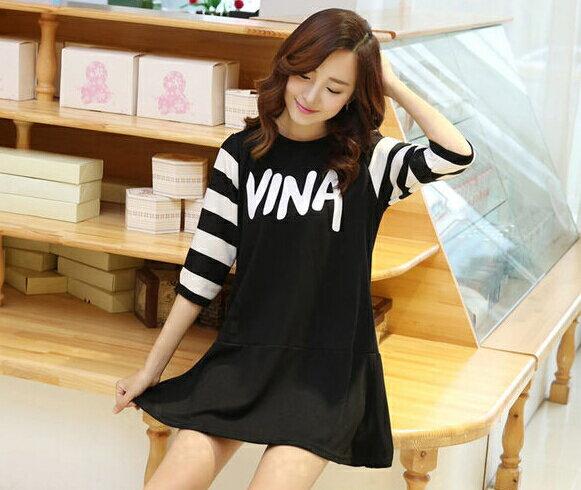 YJY率性黑白撞色寬鬆連身裙^~F9903^~~全