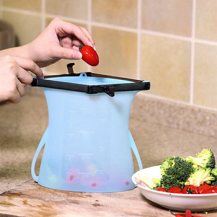 新款可站立矽膠食物袋 食物密封袋 Z2H96 隨機出貨不挑色