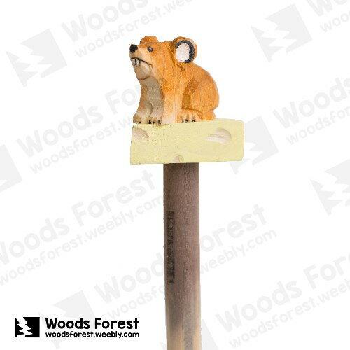 Woods Forest 木雕森林 - 手工動物木雕筆【起司鼠】