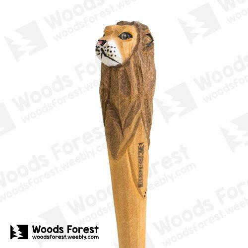 Woods Forest 木雕森林 - 手工動物木雕筆【獅子】