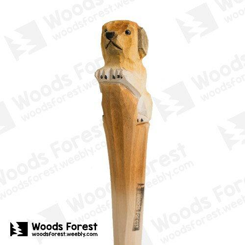 Woods Forest 木雕森林 - 手工動物木雕筆【小黃狗】