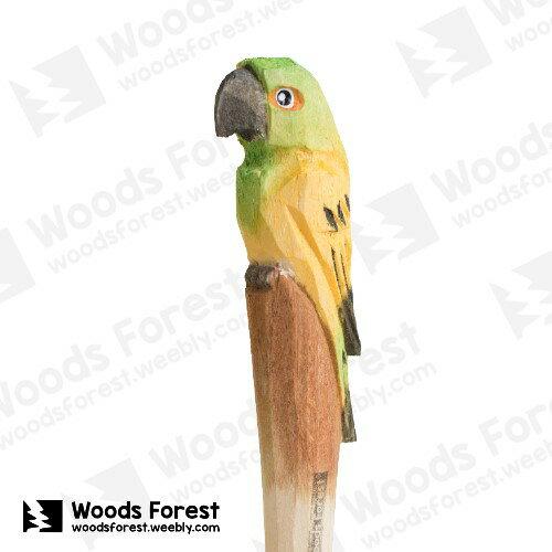 Woods Forest 木雕森林 - 手工動物木雕筆【黃鸚鵡】