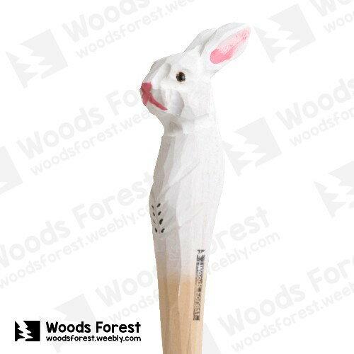 Woods Forest 木雕森林 - 手工動物木雕筆【白兔】