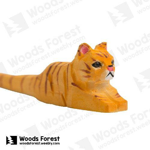 Woods Forest 木雕森林 - 手工動物木雕筆【黃趴貓】