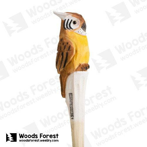 Woods Forest 木雕森林 - 手工動物木雕筆【黃貓頭鷹】
