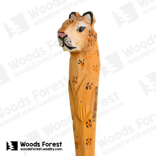 Woods Forest 木雕森林 - 手工動物木雕筆【金錢豹】