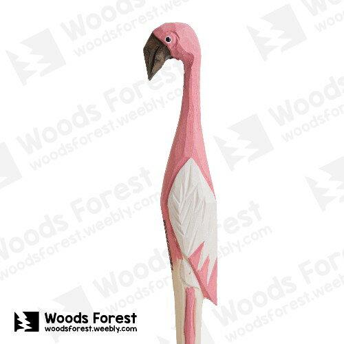 Woods Forest 木雕森林 - 手工動物木雕筆【粉紅鶴】