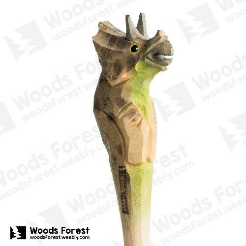 Woods Forest 木雕森林 - 手工動物木雕筆【三角龍】