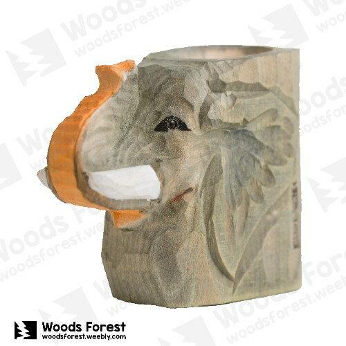 Woods Forest 木雕森林 - 動物木雕筆筒【大象】