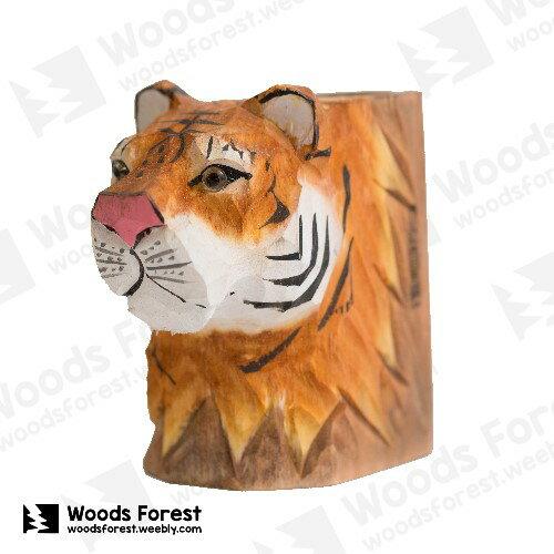 Woods Forest 木雕森林 - 動物木雕筆筒【老虎】
